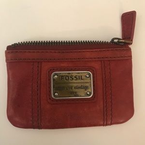 Fossil red leather card holder